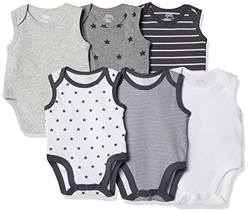 Amazon Essentials - Pack de 6 bodis sin mangas para bebé, Uni Star Stripe Neutral, Bebé prematuro