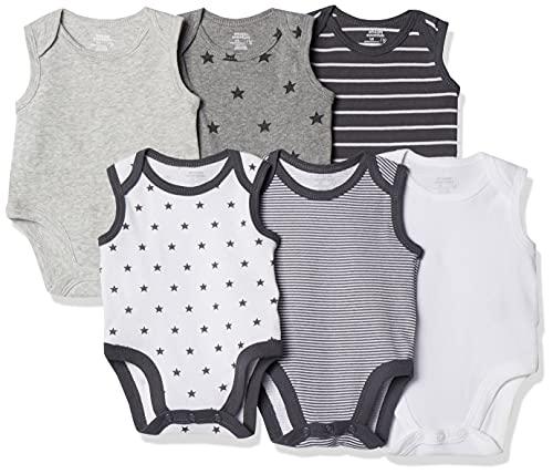 Amazon Essentials - Pack de 6 bodis sin mangas para bebé, Uni Star Stripe Neutral, Bebé prematuro