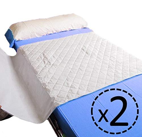 OrtoPrime Pack 2 Empapador Cama Super Absorbente 4,65 Litros m2-400 Lavados - Protector Colchón 5 Capas - Empapador Adultos Bebes y Niños 90 x 85 - Protector Cama con Alas - 2 Unidades