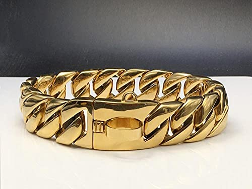 Collar de perro de metal liso cadena de acero inoxidable hebilla de diamante de lujo 32mm pitbull bulldog francés collar collar de alta calidad 32mm Plain Buckle_2XL 32mmx60cm