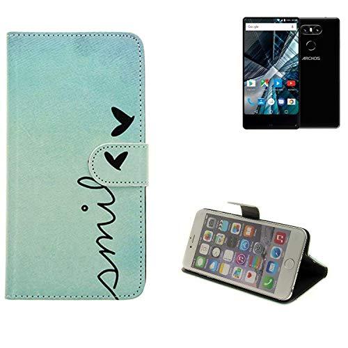 K-S-Trade® Schutzhülle Für Archos Sense 55 S Hülle Wallet Case Flip Cover Tasche Bookstyle Etui Handyhülle ''Smile'' Türkis Standfunktion Kameraschutz (1Stk)