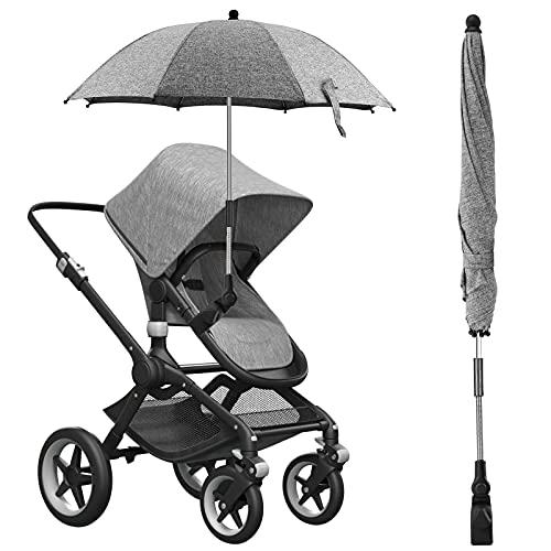 vitutech Universal Sonnenschirm Kinderwagen, UV Schutz 50+ Sonnenschirm Sonnenschutz für Kinderwagen&Buggy, 73cm Durchmesser Kinderwagen Regenschirm mit Universalhalterung für Rund-und Ovalrohre