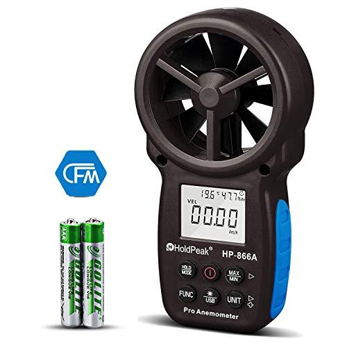 HoldPeak HP-866A Anemómetro Digital Portátil, Medidor de Velocidad del Viento con CFM Mide Velocidad del Viento + Temperatura + Punto de Rocío + Flujo de Aire con Retención de Datos y USB