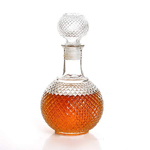 UKE Botella De Whisky, Whisky De 850 Ml Cristal De Whisky Y Brandy Botella Decanter -con Accesorios Tapón De Vino Adecuado para La Familia/Hotel/Restaurante