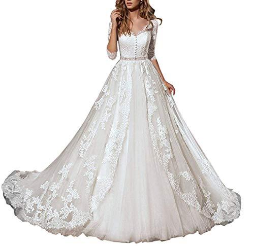 HUINI Brautkleider Hochzeitskleider Standesamt Damen Spitzen Lang Brautmode Trauung Prinzessin A-Linie Brautkleid Schlicht Weiß 36