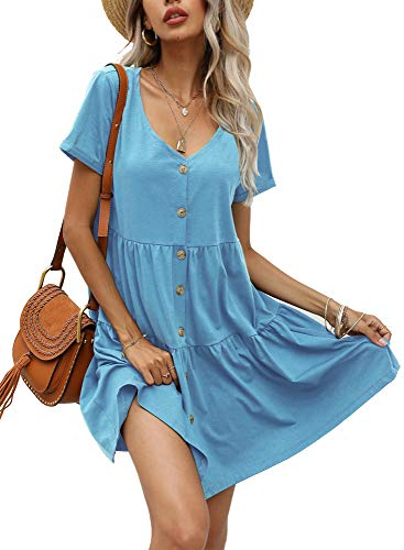 Aifer Women's Short Sleeve Mini Dress Button Down Casual Loose Swing Babydoll Dress Light Blue