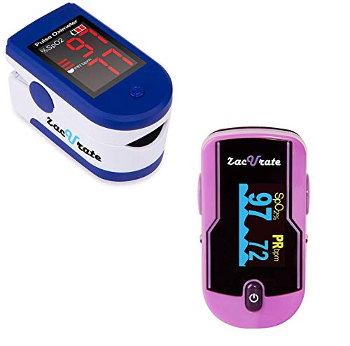 Zacurate 500CL Fingertip Pulse Oximeter and 500E Premium Pulse Oximeter Fingertip Bundle
