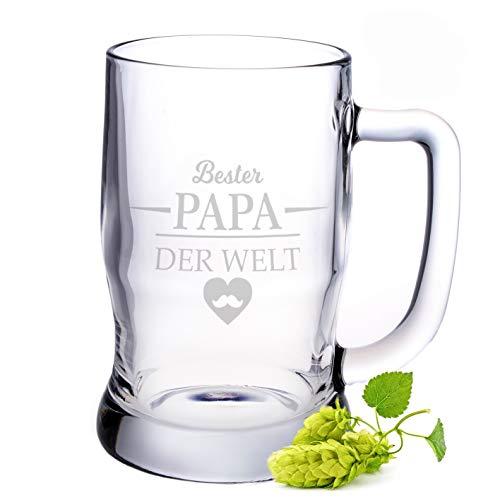 Leonardo Bierkrug mit Gravur - Bester Papa der Welt - Geschenk für Papa ideal als Vatertagsgeschenk 0,5l Bierglas Bierseidel als Geburtstagsgeschenk für Männer