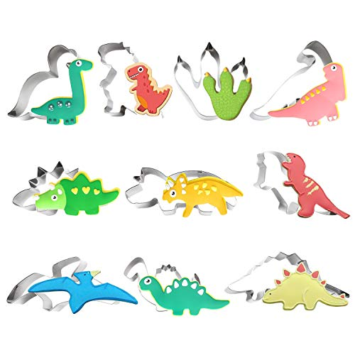 TmppDeco Dinosaur Cookie Cutter Set - 10 Piece Stainless Steel Shaped Cookie Candy Food Cutters Molds for DIY Kitchen Baking Cake Holiday Celebration Kids Dinosaur Themed Birthday Party