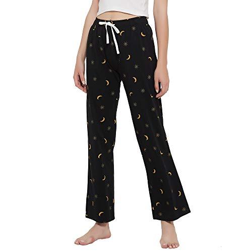 HEARTNICE Soft Pajama Pants for Women, Cotton Print Sleep Pants Lightweight Lounge Sleep Pj Bottoms(Pack of 1)(Black-Nebula, M)