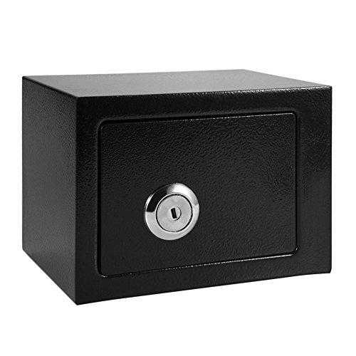 Zoternen 23x17x17.3cm Caja de Seguridad de Acero con Cerradura,Caja Fuerte Pequeña con 2 Teclas,para Oficina o Uso doméstico,Color Negro