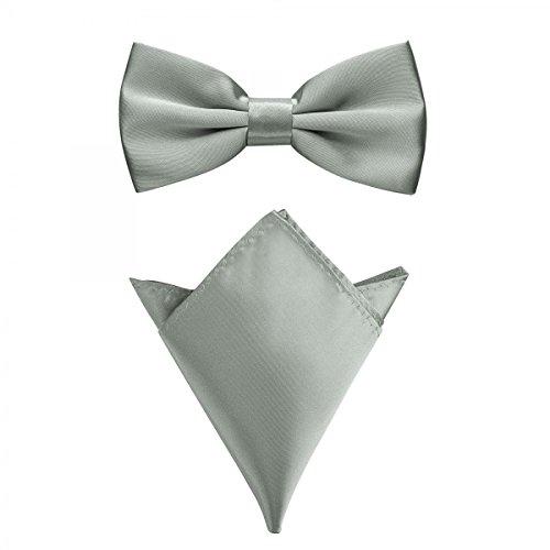 Rusty Bob - Fliege mit Einstecktuch in verschiedenen Farben (bis 48 cm Halsumfang) - zur Konfirmation, zum Anzug, zum Smoking - im 2er-Set - Silber-Grau