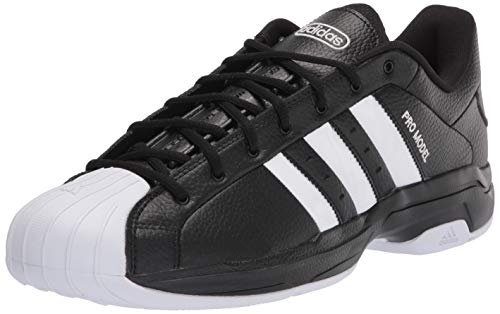 adidas Unisex Pro Model 2G Low Basketball Shoe, Black/White/Black, 9 US Men