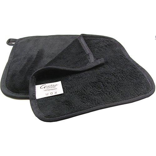 Make-up Entferner Tuch 2er Set Abschminktücher hochwertige Mikrofaser zur Gesichtsreinigung entfernt Make-up nur mit Wasser 21 x 21 cm schwarz (2 Tücher Set)