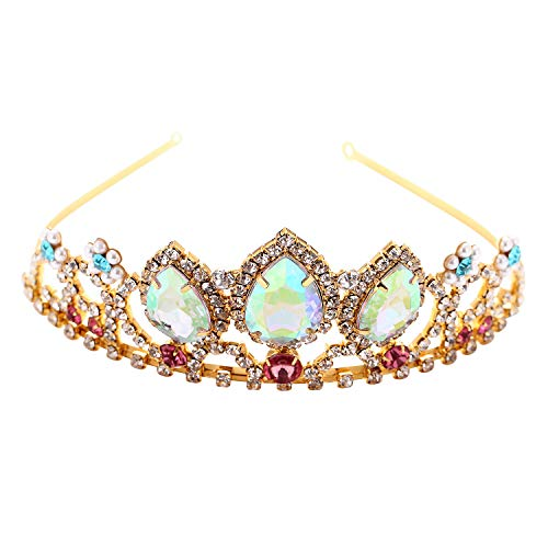 Girls Birthday Gift Rapunzel Tiara Aurora Borealis Stone Sparkle Gold Crown Halloween Princess Tangled Costume Jewelry