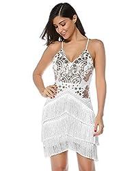 White Sequin Tassel Mini Bodycon Party Dress