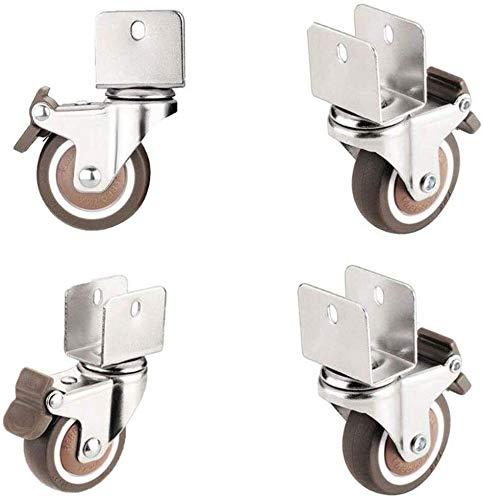WaWeiY Ruedas silenciosas para muebles, ruedas de 2 pulgadas, ruedas de freno de barra en U, para soporte de flores, rueda giratoria, protección del suelo (color: B, tamaño: 18 mm)