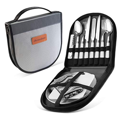 Camping Silverware Kit Cutlery Organizer Utensil Picnic Set - 12 Piece Mess Kit For 2 - Stainless Steel Plate Spoon Butter and Serrated Knife Wine Opener Fork Napkin Hiking - Camp Kitchen BBQ's (Grey)
