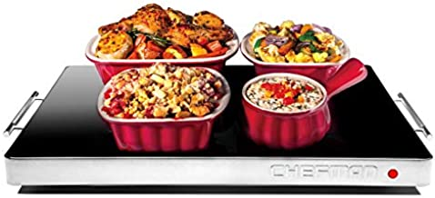 """Chefman Electric Warming Tray with Adjustable Temperature Control, Perfect For Buffets, Restaurants, Parties, Events, and Home Dinners, Glass Top Large 21"""" x 16"""" Surface Keeps Food Hot – Black"""