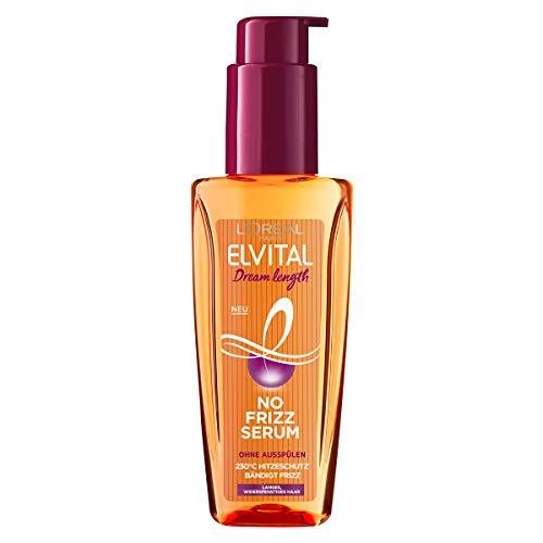 L'Oréal Paris Elvital Haarserum ohne Silikone, Hitzeschutz für langes, widerspenstiges Haar, Ohne Ausspülen, Haaröl mit pflanzlichen Proteinen und Kakaobutter, Dream Length No Frizz Serum, 1 x 100 ml