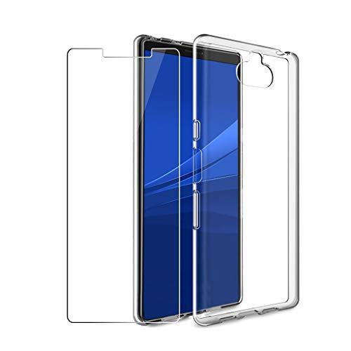 LJSM Hülle für Sony Xperia 10 Plus + [2 Stück] Panzerglas Bildschirmschutzfolie Schutzfolie - Transparent Weich Silikon Schutzhülle Crystal Flexibel TPU Tasche Hülle für Sony Xperia 10 Plus (6.5