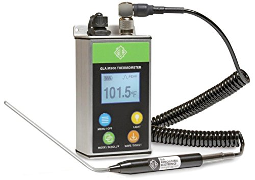 GLA M900 Veterinary Cattle Rectal Thermometer. New Design! Smaller, Lighter. Fast, Accurate Temps in 8-15 Secs. Big, Back-Lit LCD. Rechargeable. Built for Dairies & Feedlots. (Angled, 4.0 Inch)