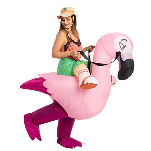 Spooktacular Creations Inflatable Halloween Costume Ride A Flamingo Ride On Inflatable Costume - Adult Unisex One Size Pink