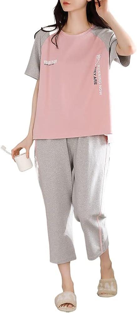 KINYBABY Teen Girls Pajama Sets Summer Casual Loungewear Nightwear Short Sleeve Sleep Top and Shorts Outfits (N6248,16-18 Years/Tag XXL)