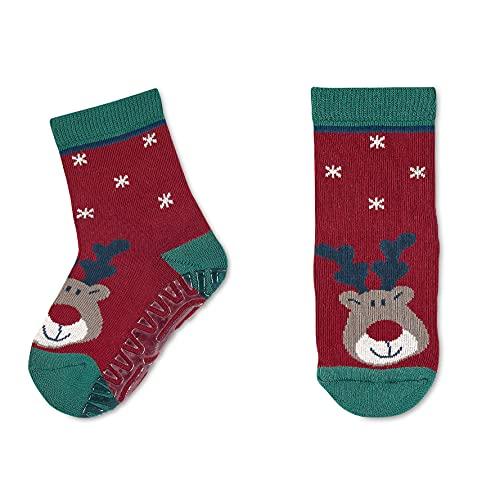 Sterntaler Unisex Baby FLI Soft Weihnachten Hausschuh-Socken, Dunkelrot, 20