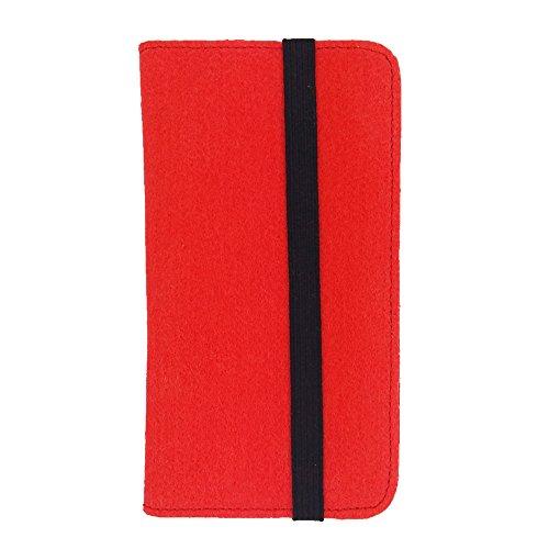 handy-point Universell Organizer für Smartphone Tasche aus Filz Filztasche Filzhülle Hülle Schutzhülle mit Kartenfach für Samsung, iPhone, Huawei (5,6-6,4 Zoll max 18 x 9,3 m, Rot)
