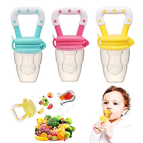 3 pezzi di diverse dimensioni di ciucci in silicone per frutta per bambini, integratore alimentare per bambini, succhietti per frutta, succhietti molari per neonati, succhietti (giallo, verde, rosso)