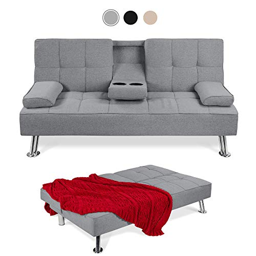 Best Choice Products Linen Upholstered Modern Convertible Folding Futon Sofa Bed for Compact Living Space, Apartment, Dorm, Bonus Room w/Removable Armrests, Metal Legs, 2 Cupholders - Gray