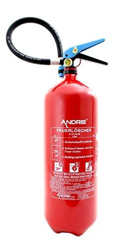 Feuerlöscher Schaum 6L Fettbrand mit Manometer Orig. ANDRIS® DIN EN3 mit Prüfnachweis, Halterung, ISO Symbolschild