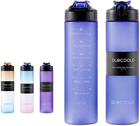 DLOCCOLD 32oz Motivational Fitness Sports Water Bottle with Time Marker Straw Large Wide Mouth product image