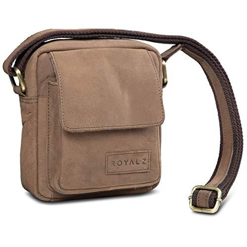 ROYALZ Umhängetasche Klein für Herren Leder Vintage Look Kleine Schultertasche Mini Seitentasche zum Umhängen, Farbe:Montana Braun