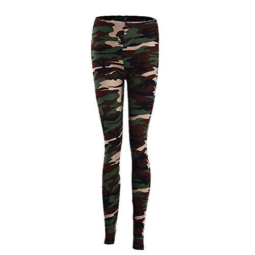 HOUSWEETY Sexy Damen Bunt Elastische Camouflage Leggings Leggins Hüfthose Hose (Bunt-E01945-DE)