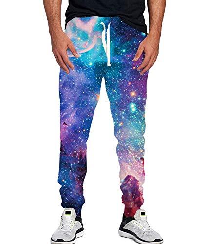90s Boys Girls Novelty Galaxy Pants Elastic Drawstring Hip Hop PJs Trousers 80's Themed Party Retro Thick Jogger Sweatpants Loose XL
