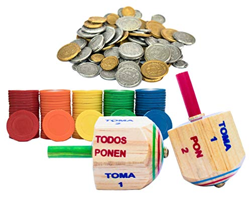 Pirinola Toma Todo Set – Wood Spinning Top Game – 100 Counting Chips for Loteria Bingo and 96 Mexican Plastic Coins – Kids and Adults Party Games for Mexican Fiesta, Bachelor Parties or Baby Shower