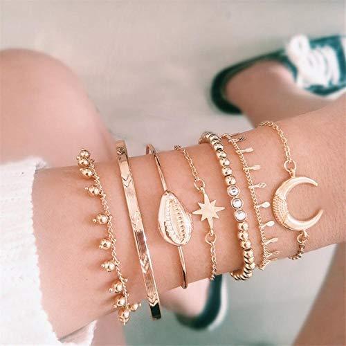 Qingsb 7 stks/set vrouwen armbanden retro shell maan ster kristal kralen gouden ketting armband set strand mode bangle sieraden, goud
