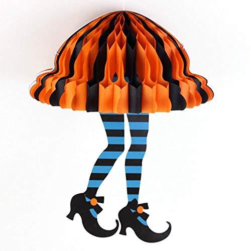 Pompon Girlande Bannerwunderliche Halloween Wabe Hexe Beine Socken Hexen Stiefel Hexe Füße Halloween Party Liefert Halloween Hängende Dekoration, Blau