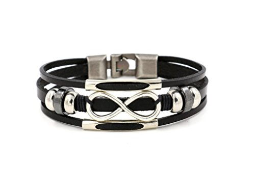 HONGCI Punk Alloy Leather Bracelet Love Infinity Symbol With Stainless Steel Clasp Fit Men,Women(21cm) (BLACK)