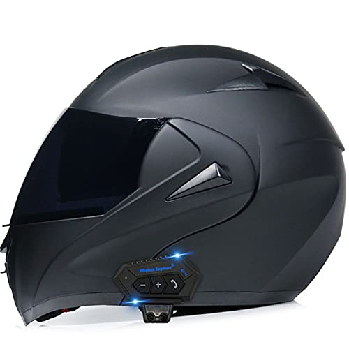 Cascos Bluetooth para motocicleta, casco modular integrado con Bluetooth, casco de motocicleta de cara completa, doble visera modular Bluetooth, casco aprobado por DOT/ECE 13, M = (55 ~ 56 cm)