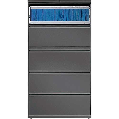 Lorell 5-Drawer Lateral File, 36 by 18-5/8 by 67-11/16-Inch, Charcoal