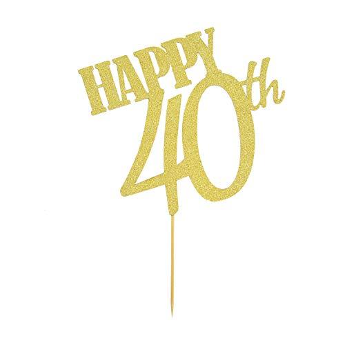 Oblique Unique® Torten Kuchen Topper Aufsatz Happy 40th 40 Geburtstag Jubiläum Deko - Gold mit Glitzereffekt Muffin Cupcake Dekoration