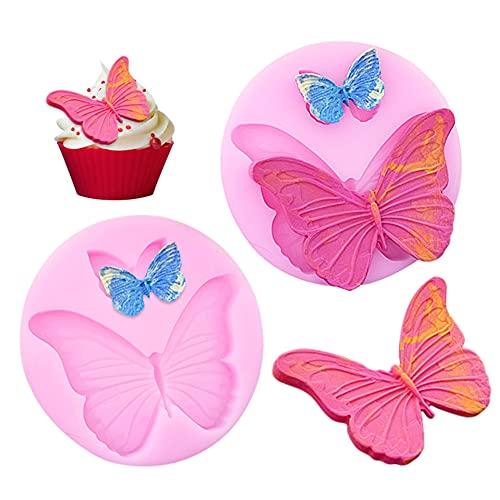 2 Stücke Silikon Fondant Formen, Schmetterling Fondant Kuchenformen Süßigkeiten Schokoladen Form für Herstellung Kuchen Dekoration, Gelee Candy Fondant Cupcake Brot Schokolade Muffin Süßigkeiten