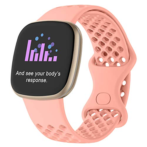 Goosehill für Fitbit Versa 3 Armband/Fitbit Sense Armband, Atmungsaktiv Silikon Sport Band mit Luftlöchern Kompatibel mit Fitbit Versa 3 & Fitbit Sense (Rosa, S)