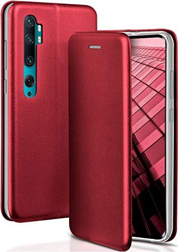 ONEFLOW Handyhülle kompatibel mit Xiaomi Mi Note 10/Note 10 Pro - Hülle klappbar, Handytasche mit Kartenfach, Flip Hülle Call Funktion, Klapphülle in Leder Optik, Weinrot