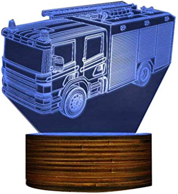 Rettung Feuerwehrauto LED Nachtlicht Brandbekmpfung Lkw 3D Optische Illusion Lampe Feuerwehr Büro Raumbeleuchtung Dekor Geschenk für Feuerwehrmnner