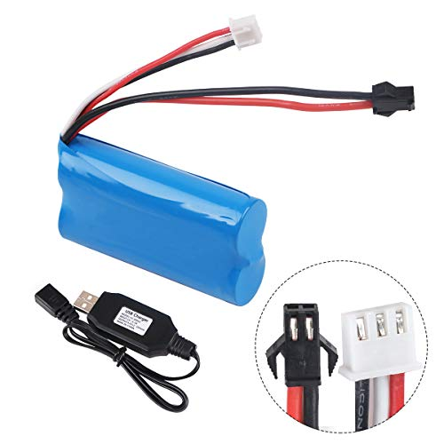 Crazepony-UK 7.4V 1500mAh Battery 15C SM Plug with USB Charger for RC Car Boat Spare Parts Accessories