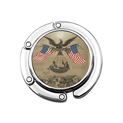 Netter Faltbarer Geldbeutel-Aufhänger für Tisch, Geldbeutel-Haken Die amerikanische Unabhängigkeitserklärung Emanzipation